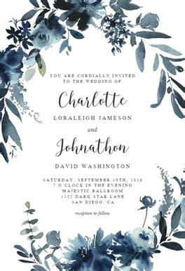indigo flowers wedding invitation template