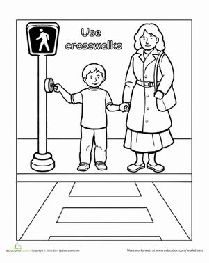 coloring pages of zebra crossing traffic safety use crosswalks worksheets safety and