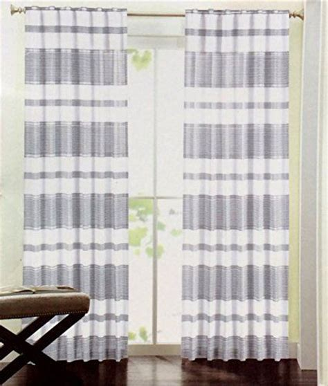 silver and white striped curtains hillcrest stripe window curtains set of 2 panels 52 x 96