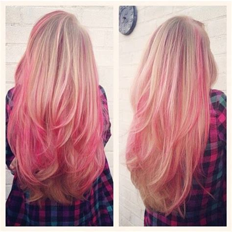 blone hair with pink streaks blonde hair with pink highlights hair pinterest