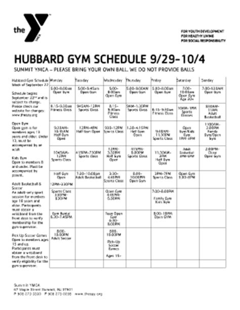 ymca printable schedule ymca schedule on monday fill online printable fillable