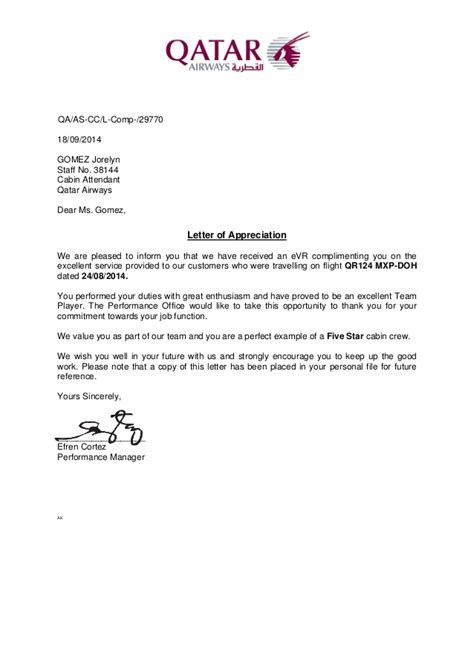 appreciation letter airline staff letter of appreciation 24aug2014