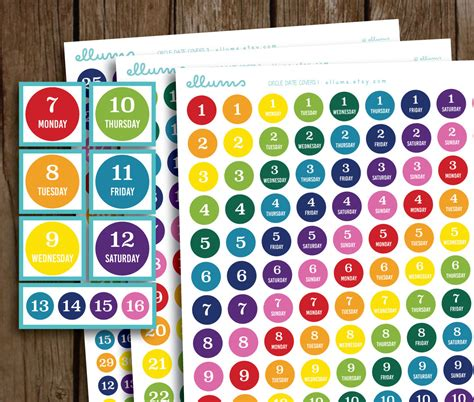 Planner Date Stickers