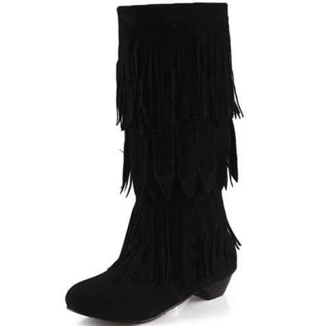 cheap winter suede toe tassels decorated wedge mid