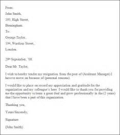 Sle Resign Letter Format by Professional Resignation Letter Sle 4 Documents In