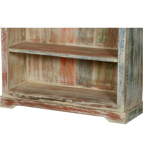 white washed reclaimed wood 6 shelf 78 5 quot bookcase open shelves