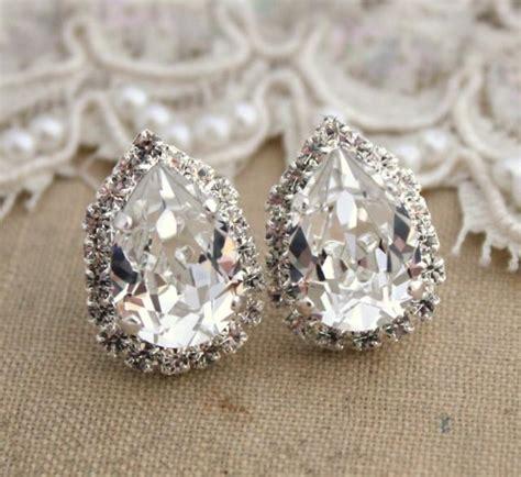 silver bridal wedding earrings drop swarovski