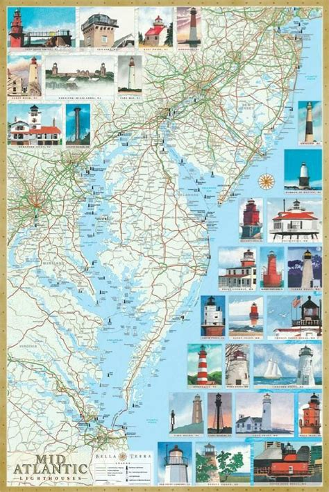 lighthouses map mid atlantic lighthouses map the illustrated map and