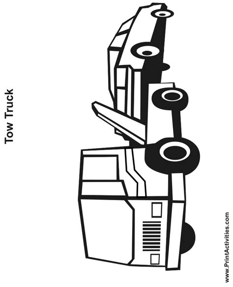 tow truck coloring page free printable truck activity