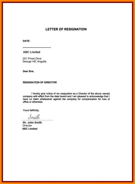 Resignation Letter No Reason 7 Resignation Letter Sle Doc Personal Reason Handy Resume