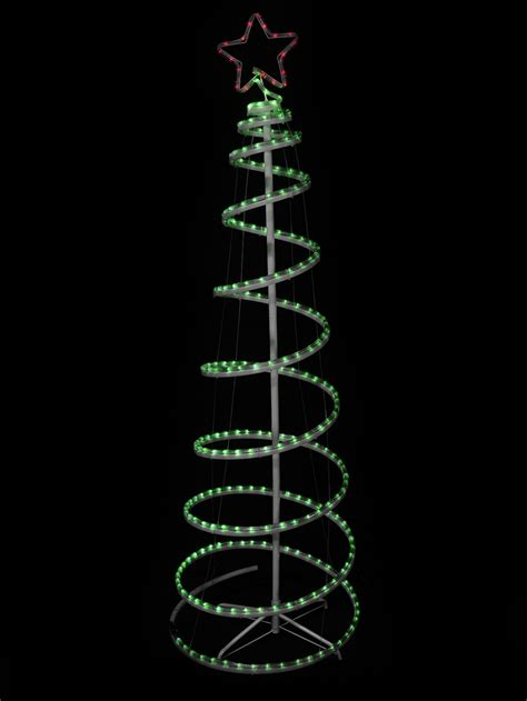 green with red star 3d led spiral rope light tree 1 8m