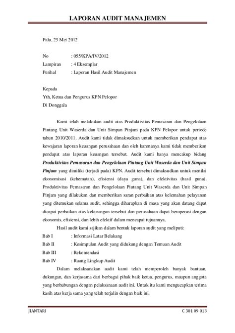 format laporan audit operasional laporan audit manajemen pada kpn pelopor donggala