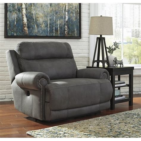 Two Person Recliner Austere Faux Leather Power Zero Wall Wide Recliner In Gray 3840182