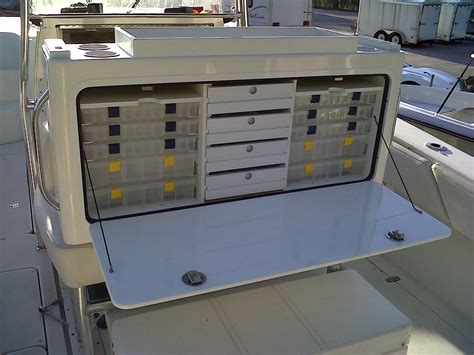 any ideas tips for tackle tray storage under leaning post - Fishing Boat Tackle Storage Ideas