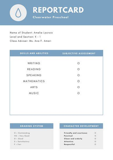 canva report blue college report card templates by canva