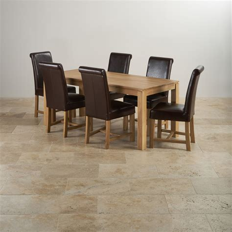 solid oak dining table and 6 leather chairs galway dining set in oak 6ft table 6 brown leather chairs