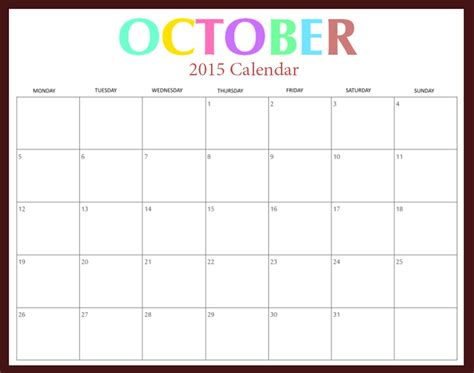 Calendar 2015 With Holidays October 2015 Calendar Printable With Holidays 2017