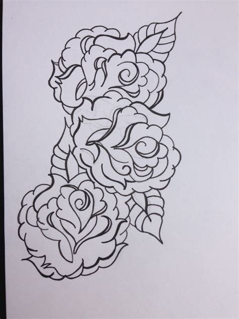 tattoo outlines designs roses design black and white outline illustration