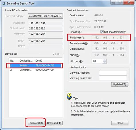 ip search tool configure swann network to upload or