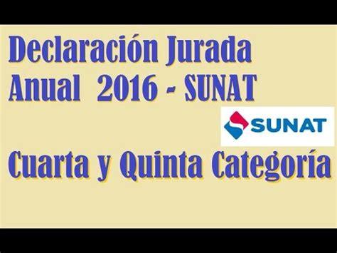 sunat renta de 5ta 2016 renta anual de renta de cuarta y quinta categor 237 a 2016