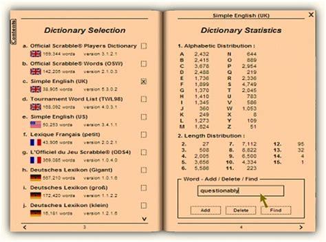 dictionary selection statistics tools