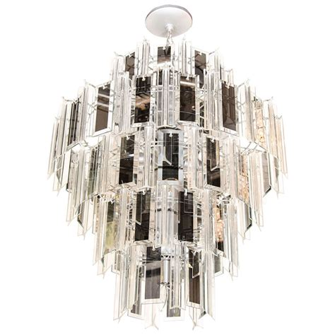 Beveled Glass Chandelier Venini Style Multi Tier Chandelier With Smoked Mirrored And Beveled Glass Prisms At 1stdibs