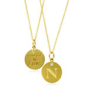 initial necklace letter n pendant with 18k yellow