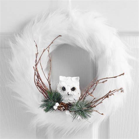 faux wreaths white faux fur wreath with owl world market