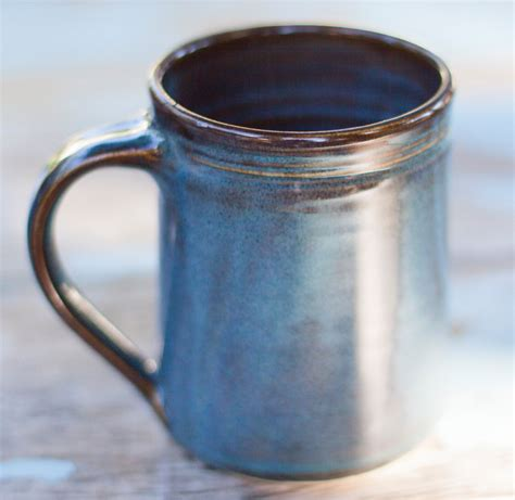 Handcrafted Ceramic Mugs - twilight blue stoneware mug handthrown ceramic clay mug