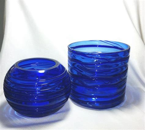 Blue Glass Vases And Bowls Cobalt Blue Glass Blown Bowls Vases Home Decor