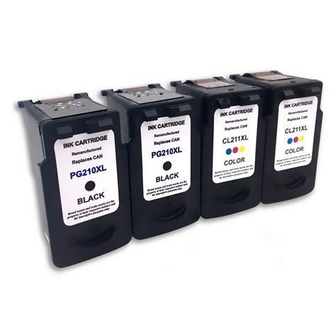 reset canon mp280 cartridge 4 pack black color ink cartridge for canon pg 210xl cl