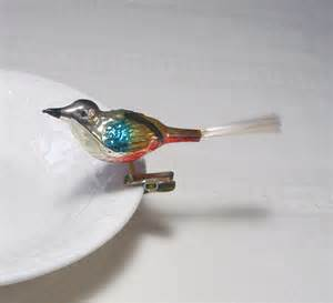 vintage mercury glass clip on bird christmas tree ornament