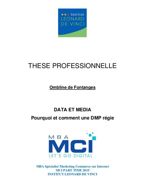 Byu Mba Class Size by Th 232 Se Professionnelle Data Et Media Mba Mci 2015