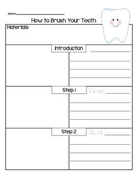Tooth Writing Template by How To Brush Your Teeth Writing Template By Teach The