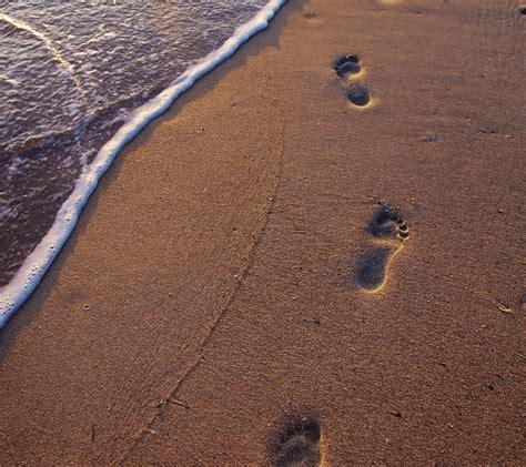 jejak kaki pantai pasir lanskap wallpapersc android