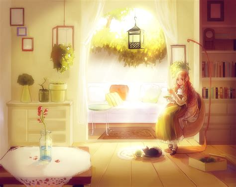 cat wallpaper room room book girl window sunlight cat anime flower wallpaper