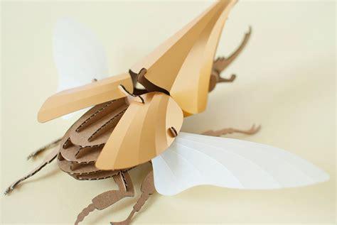 diy paper beetle sculpture kits  assembli colossal