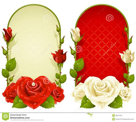 vector rose frames isolated on white background royalty