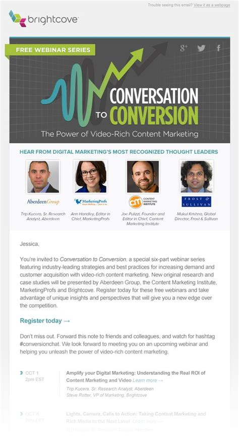 Bright Cove Webinar Html Email Marketing Design Beautiful Email Newsletters Inspiration Free Webinar Templates