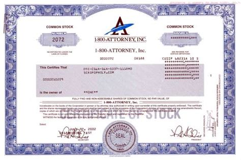 1 800 Attorney Inc Stock Certificate Stock Suspended By The Securities And Exchange Commission Attorneys Corporation Service Stock Certificate Template