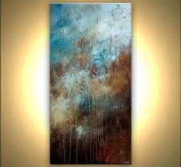 large paintings prints painting large textured blue brown abstract art 7684