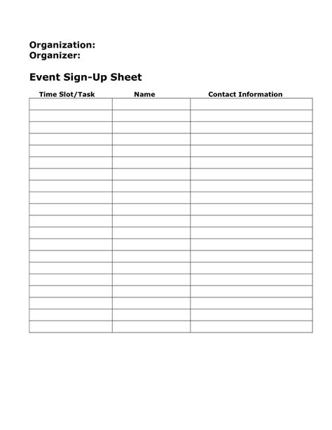 replacethis event sign up sheet template blank free