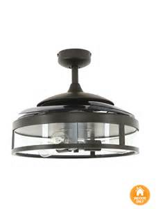 ceiling fan with retractable blades new fanaway classic ceiling fan in black with clear 4