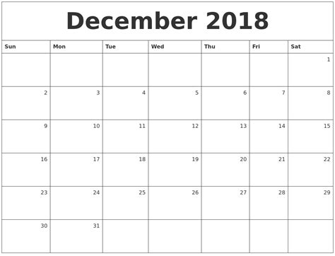 2018 Printable Monthly Calendar December 2018 Monthly Calendar