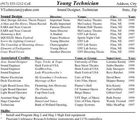 Examples Of College Resume by Technical Theatre Resume Guide