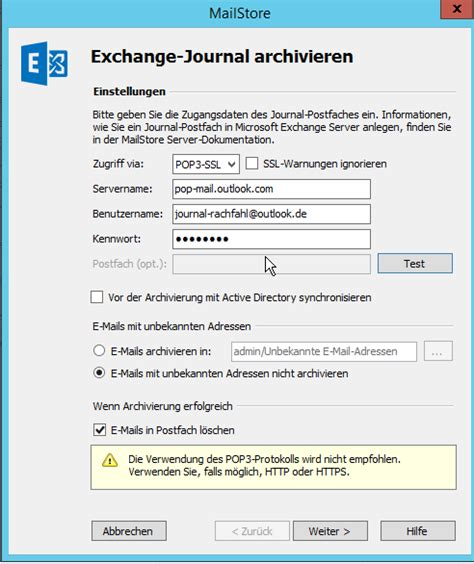 Office 365 Mail Journaling Office 365 Journaling Mit Mailstore Einrichten Himmlische It