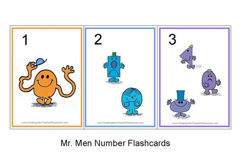 kindergarten printable numbers flashcards mr men number flash cards