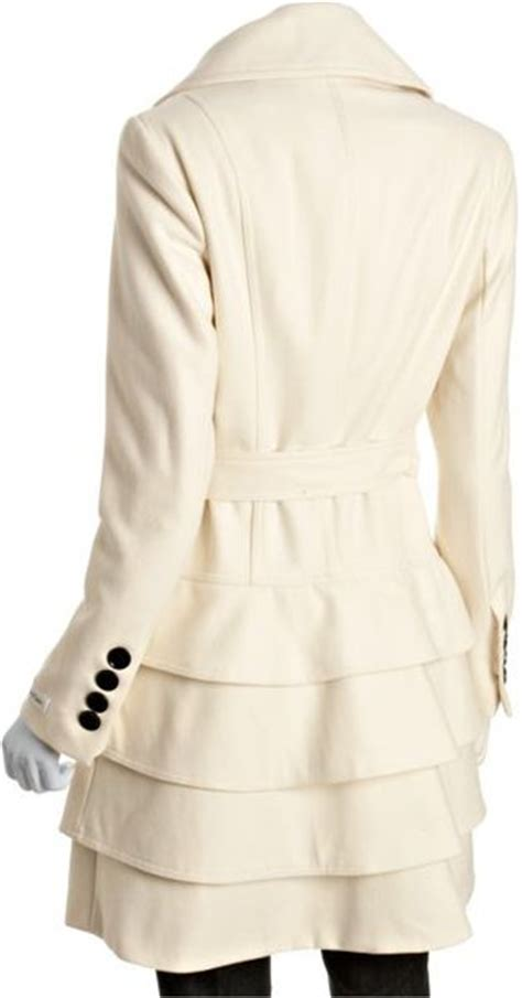 calvin klein ivory wool blend pleated skirt coat in white