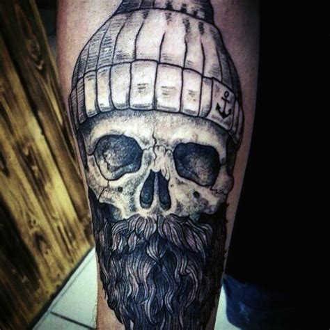bearded skull tattoo big detailed black ink sailor skull with beard