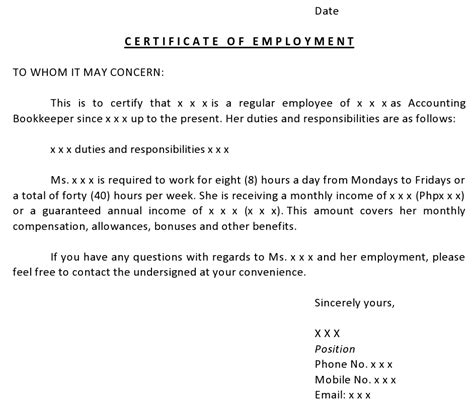 employment certification letter for visa application our canada diary nbpnp application